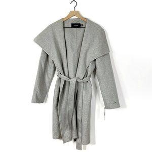 Tahari Ellie Wool Blend Belted Wrap Jacket Coat
